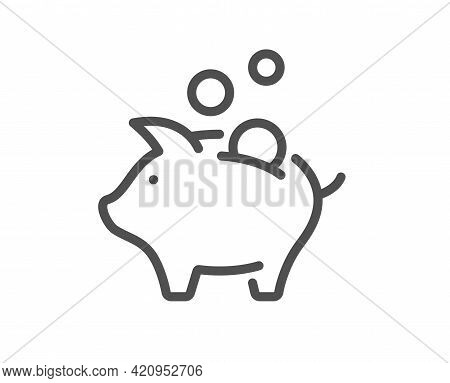 Piggy Bank Line Icon. Coins Money Sign. Business Savings Symbol. Quality Design Element. Linear Styl