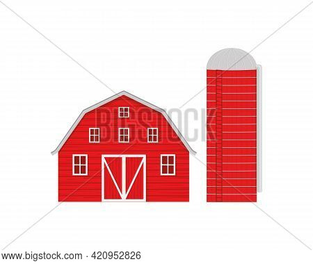Red Wooden Barn And Agricultural Silo For Grain Storage Isolated On White Background. American Farm