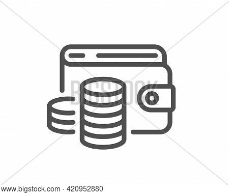 Wallet Money Line Icon. Cash Coins Sign. Business Income Symbol. Quality Design Element. Linear Styl
