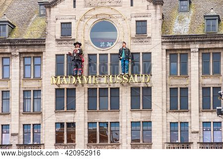28 April 2021, Amsterdam, Netherlands, Madame Tussauds Is A Wax-museum, Which Is Located On Dam Squa