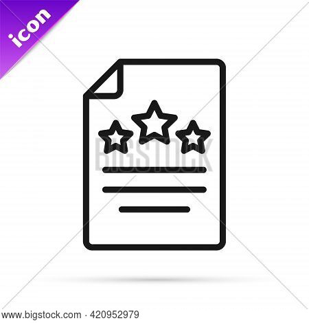 Black Line Declaration Of Independence Icon Isolated On White Background. Vector