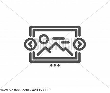 Image Carousel Line Icon. Photo Thumbnail Sign. Album Picture Placeholder Symbol. Quality Design Ele