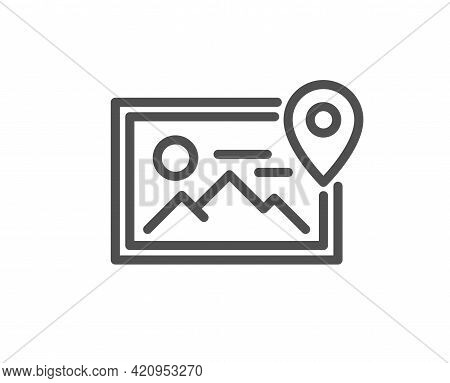 Photo Location Line Icon. Image Thumbnail Sign. Picture Placeholder Symbol. Quality Design Element.