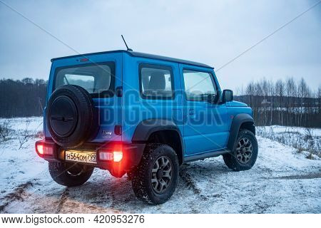 Moscow, Russia - January 24, 2020: Exterior Of New Suzuki Jimny Mini Suv On A Winter Road In The Eve