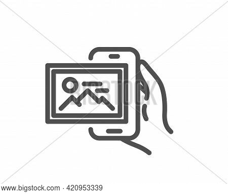 Image Album Line Icon. Phone Photo Sign. Smartphone Picture Gallery Symbol. Quality Design Element.