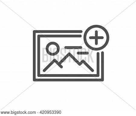 Add Photo Line Icon. Image Thumbnail Sign. Picture Placeholder Symbol. Quality Design Element. Linea
