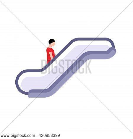 Escalate Vector Icon Sign. Elevator Mall Symbol, Escalator Ladder Icon