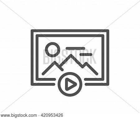 Start Presentation Line Icon. Photo Image Thumbnail Sign. Picture Placeholder Symbol. Quality Design