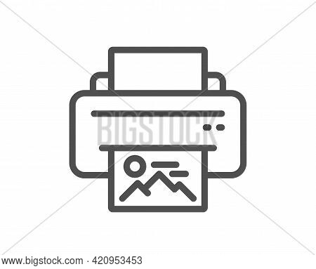 Print Image Line Icon. Photo Printer Sign. Picture Symbol. Quality Design Element. Linear Style Prin