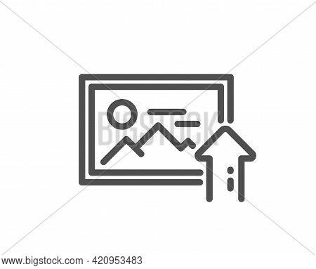 Upload Photo Line Icon. Image Thumbnail Sign. Picture Placeholder Symbol. Quality Design Element. Li