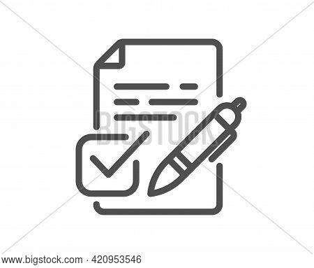 Voting Ballot Paper Line Icon. Vote Ticket Sign. Public Election Symbol. Quality Design Element. Lin