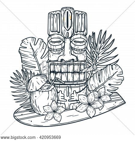 Surfing Hawaii Cocktail And Tiki Mask On Surf Bord For T-shirt Print. Tropical Surfbord And Drink Co