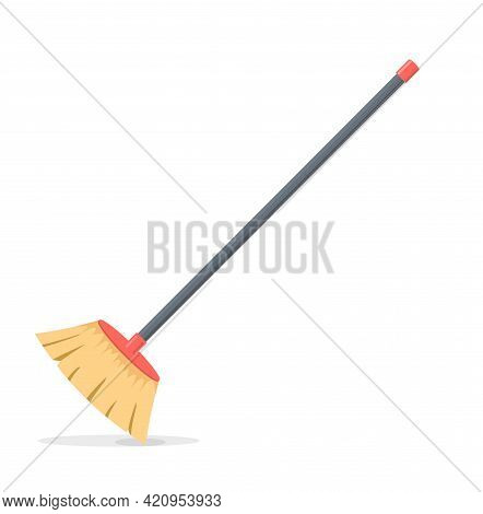 Broom Mop Sweep Cartoon Flat Icon. Clean Tidy Dust Cleanup Vector Symbol