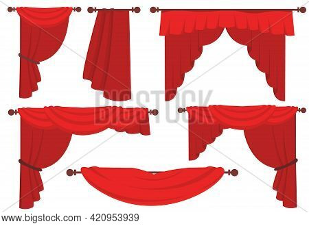 Red Curtains Flat Illustrations Set. Collection Of Luxury Red Silk Curtains And Draperies. Interior