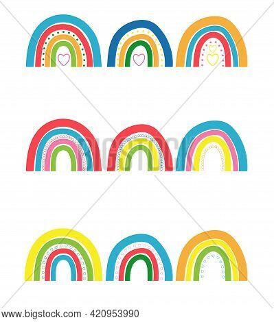 Cartoon Rainbow. Colourful Rainbows, Heart And Cloud With Rainbow Colors Tail. Hand Drawn Rainbows I