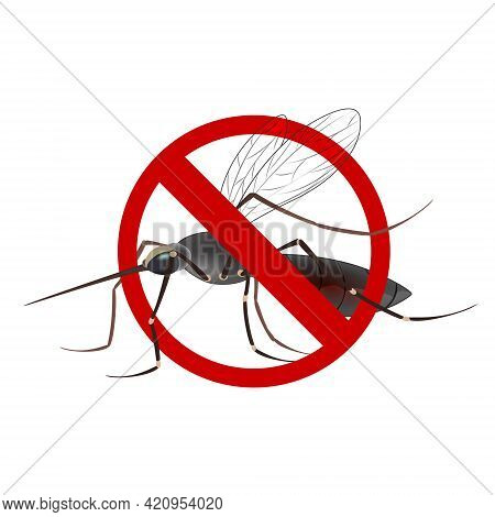 Stop Mosquito Sign Isolated. Anti Mosquito Sign With A Realistic Mosquito.