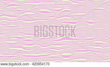 Abstract Background In Pink And White Colors. Waves On A Striped Surface, Vector Illustration.