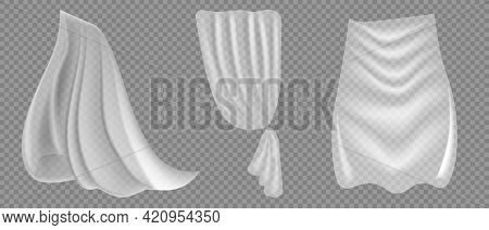 Different Shapes Curtains On Transparent Background. Vector Illuatration. Cloth Curtain With Fold Is