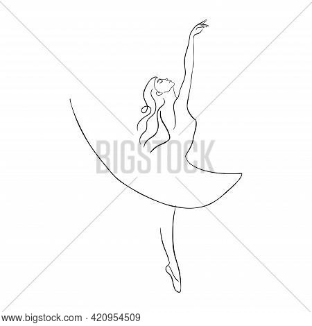 Hand Drawn Ballet Dancer In Pointe Shoes Isolated Vector Illustration For Logo, Emblem Template, Web