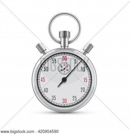 Realistic Illustration Of Metallic Chrome Mechanical Analog Stopwatch On White Background.