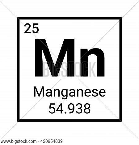 Manganese Element Chemical Icon Chemistry Symbol. Manganese Periodic Table Symbol