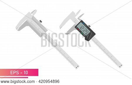 Measuring Instruments, Manual And Digital Vernier Calipers. Realistic Design. On A White Background.