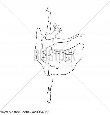 One Line Ballet Dancer In Graceful Posture For Logo, Emblem Template, Web, Prints