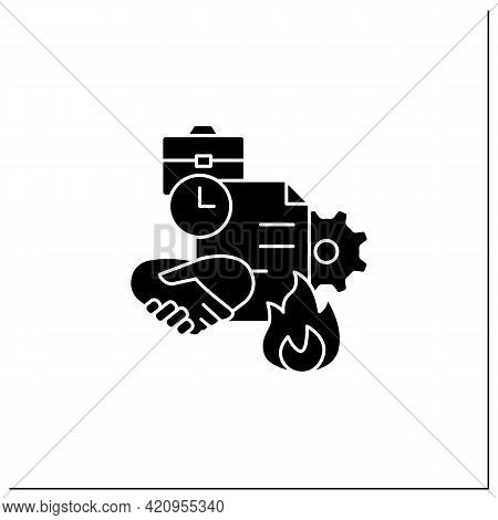 Fixed-term Contract Glyph Icon. Employment Contract Expiration. Agreement Between Employer And Emplo
