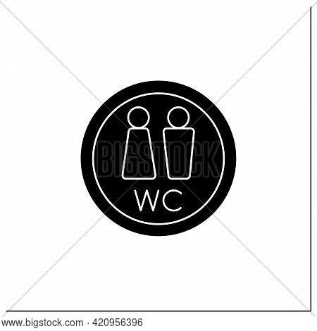 Wc Symbol Glyph Icon. Public Restroom. Toilet, Lavatory Sign. Public Place Navigation. Universal Pub