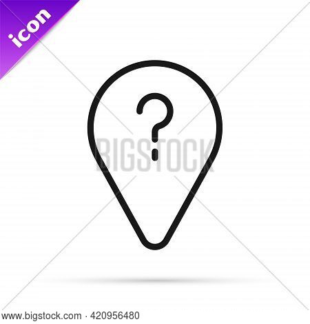 Black Line Unknown Route Point Icon Isolated On White Background. Navigation, Pointer, Location, Map