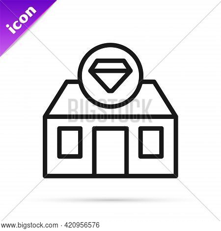 Black Line Front Facade Building Jewelry Store Icon Isolated On White Background. Vector
