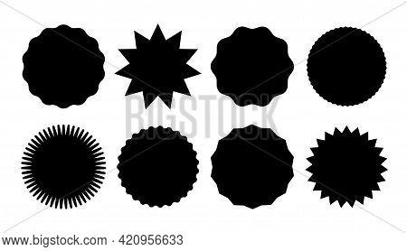 Starburst Promo Black Sticker Shape Vector Sale Splash. Starburst Round Badge Promo Sticker