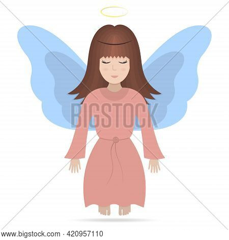 Angel With Wings. Colored Vector Illustration. A Girl With A Halo Over Her Head. The Fairy Lady Clos