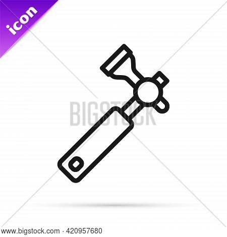 Black Line Jewelers Lupe For Diamond Grading With Dimond Icon Isolated On White Background. Vector