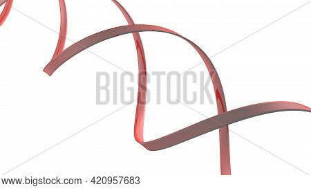 Red Helix Spiral Isolated On White Background - 3d Rendering Illustration