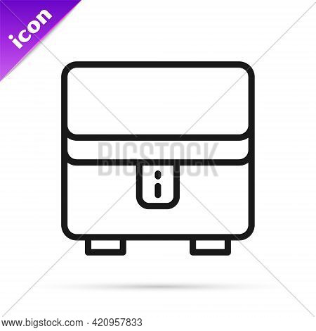 Black Line Jewelry Box Icon Isolated On White Background. Casket With Jewelry. Vector