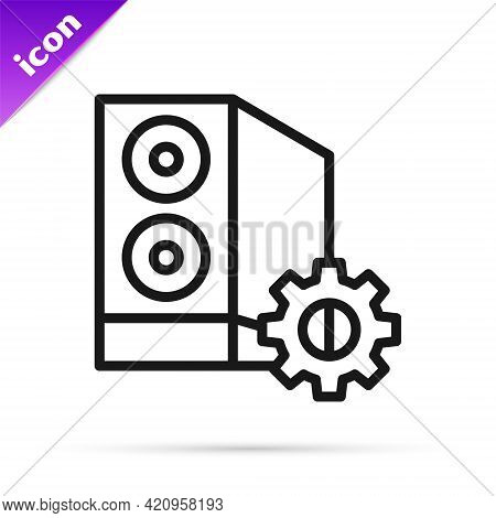 Black Line Case Of Computer Setting Icon Isolated On White Background. Computer Server. Workstation.