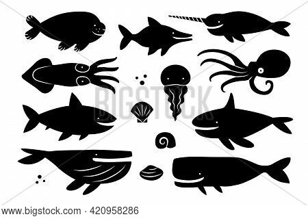 Sea Creatures, Animals, Fishes. Whale, Shark, Walrus, Narwhal, Jellyfish, Octopus, Killer Whale, Dol