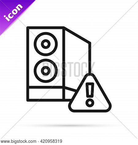 Black Line Case Of Computer With Exclamation Mark Icon Isolated On White Background. Computer Server