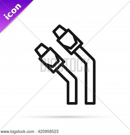 Black Line Lan Cable Network Internet Icon Isolated On White Background. Vector