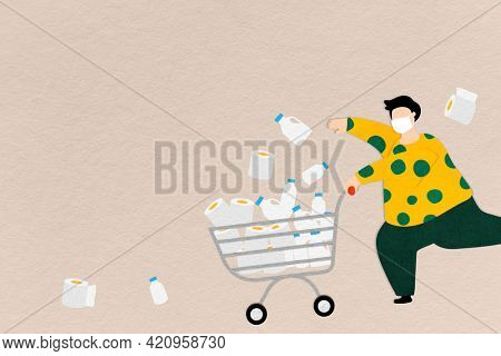 Man hoarding food and tissue paper during the coronavirus pandemic