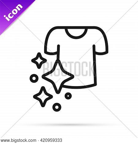 Black Line Drying Clothes Icon Isolated On White Background. Clean Shirt. Wash Clothes On A Rope Wit