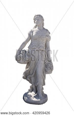 Stone sculpture of woman holding baskets with grapes on white background. art and classical style romantic figurative stone sculpture.