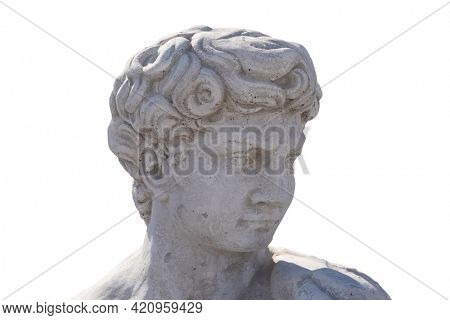 Ancient man's head stone sculpture on white background. art and classical style romantic figurative stone sculpture.