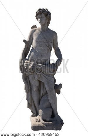 Stone sculpture of male hunter with dog on white background. art and classical style romantic figurative stone sculpture.