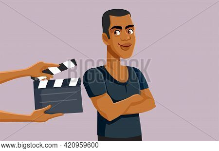 African Male Actor Filming On Set Vector Illustration
