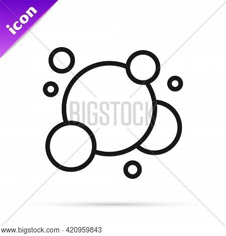 Black Line Soap Water Bubbles Icon Isolated On White Background. Vector
