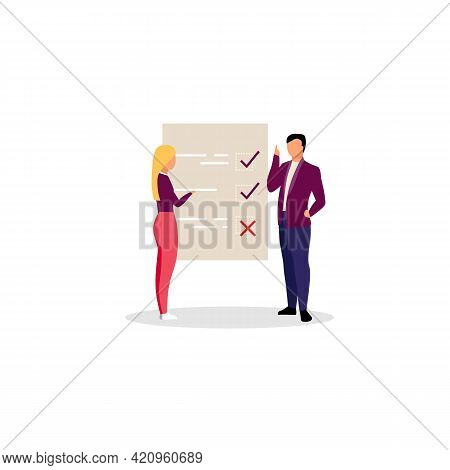 Project Manager With Checklist Flat Illustration. Businessman, Entrepreneur And Female Personal Assi