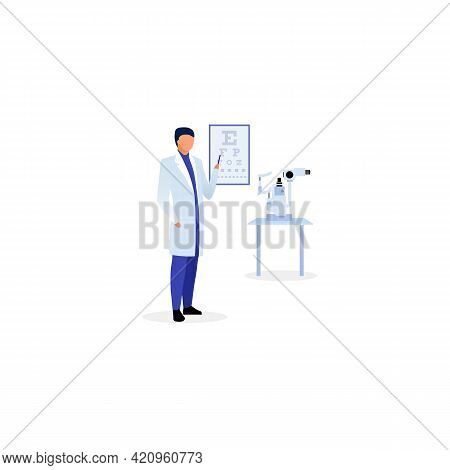 Doctor With Eyesight Chart Flat Vector Illustration. Ophthalmologist Checking Visual Acuity. Therapi