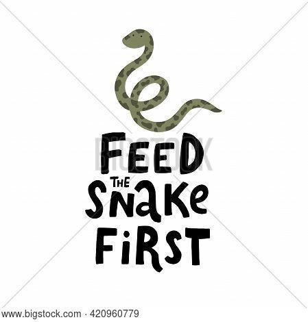 Vetor Funny Lettering And Cute Snake Illustration